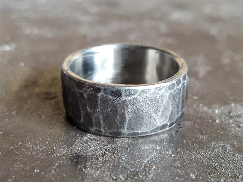 Oxidized Stainless Steel Mens Ring, Domed