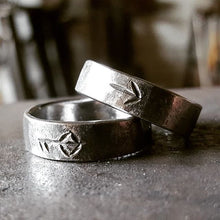 Load image into Gallery viewer, Iron Viking Ring with Hand Carved Rune