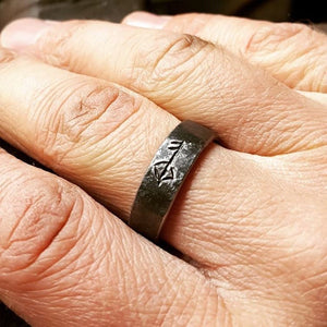 Iron Viking Ring with Hand Carved Rune