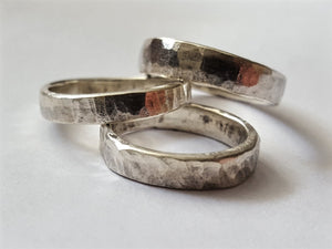 Sterling Silver Ring, Forged and Hammered