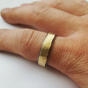 Stainless Steel and Brass Wedding Band