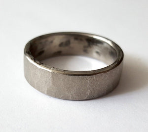 Stainless Steel Wedding Band, Faceted Texture