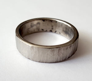 Bark Texture Stainless Steel Wedding Band