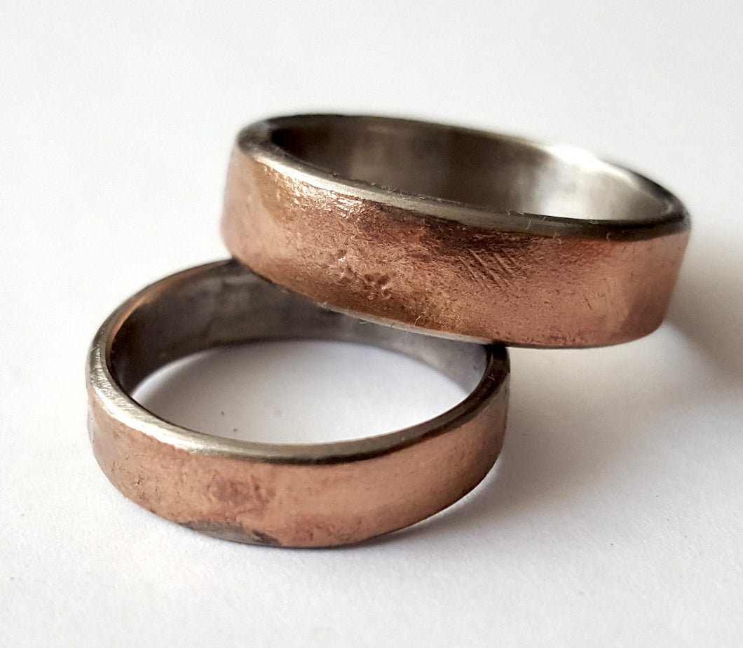 Bronze and Stainless Steel Wedding Band