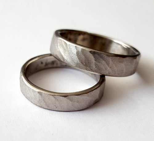 Stainless Steel Ring, Hammered Wave Texture