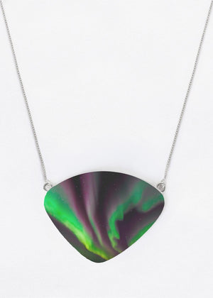 Aurora Ribbon Dance - Oversized Metal Necklace