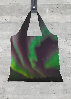 Aurora Ribbon Dance - Foldaway Tote Bag