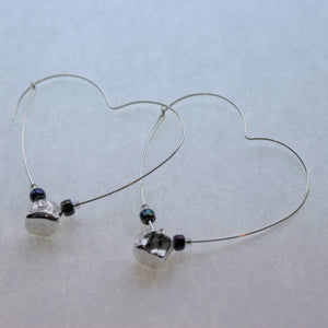 Tucho Offerings - LOVE, Sterling Silver Whitefish Vertebrae Heart Hoop Earrings