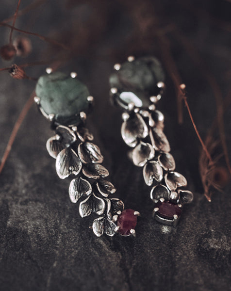 Emerald & Ruby Mismatched Earrings