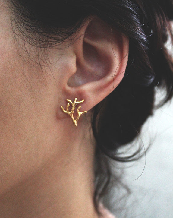 VOLVER EARRINGS / GOLDPLATE + PATINA