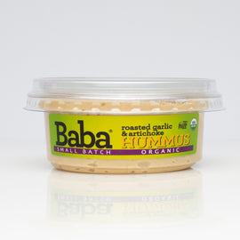 Baba Small Batch Organic Roasted Garlic & Artichoke Hummus Front