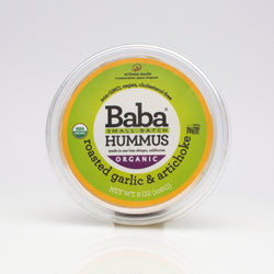 Baba Small Batch Organic Roasted Garlic & Artichoke Hummus Top