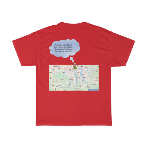TBMSRadio T-Shirt with Finger Lakes Map on Back