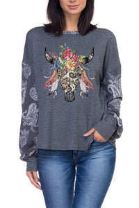 BOHEMIAN COWGIRL LONGHORN/STEER HEAD FEATHERS AND FLOWERS