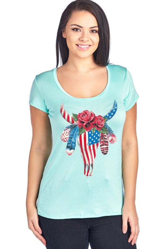 USA FLAG PRINTED TRIBAL STEER HEAD ~ LONGHORN T-SHIRT