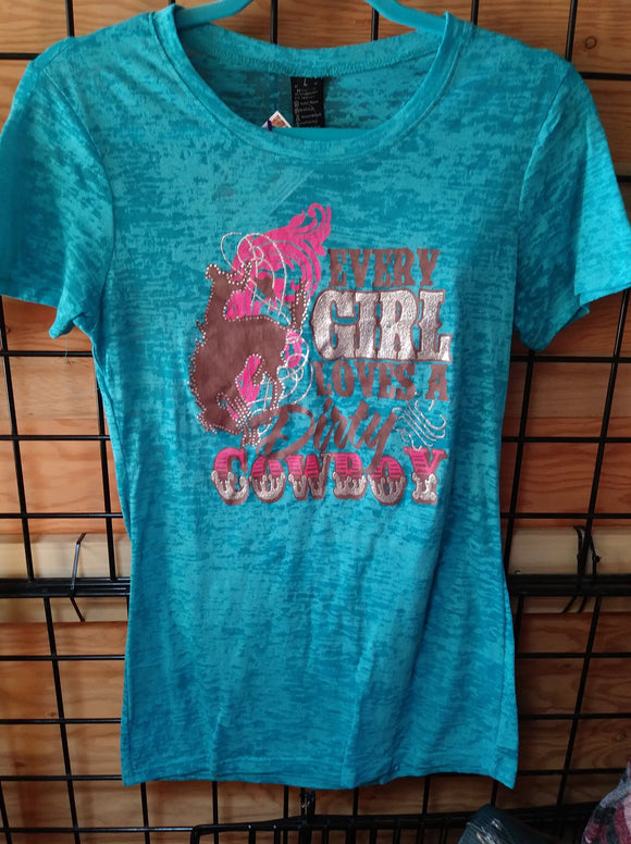 TURQUOISE BURN OUT DIRTY COWBOT T-SHIRT