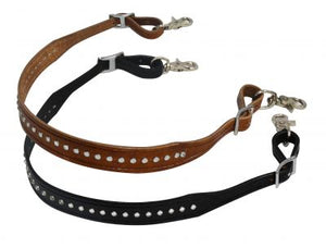 CLEAR CRYSTAL LINED BLACK LEATHER WITHER STRAP