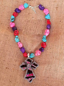 ONE OF A KIND! PINK CRYSTAL CROSS PENDANT  COLORED TURQUOISE STONE NECKLACE