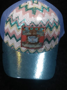TURQUOISE SEQUINS CHEVRON DESIGN SNAP BACK OUR CUSTOM LOGO PATCH ADDED