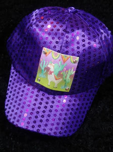 YOUTH/KIDS SIZE SEQUINS HATS WITH OUR LONE LLAMA LEATHER PATCH