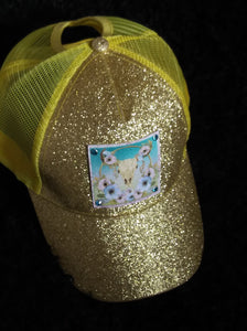 GOLDEN GLITTER HAT WITH OUR BOHEMIAN RHAPSODY LEATHER PATCH HAND SET