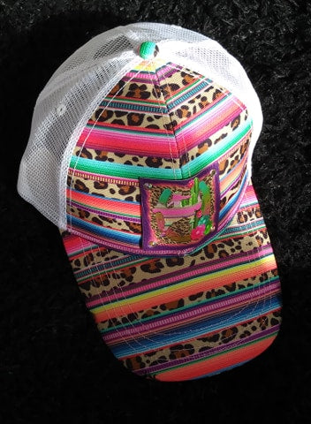 SERAPE LEOPARD PRINT HAT WITH OUR DESERT BRONC DREAMS LEATHER PATCH