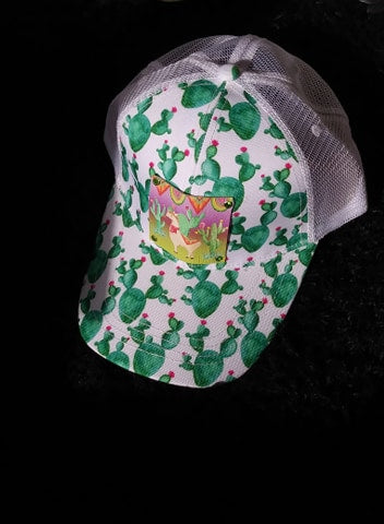 CACTUS PRINT HAT WITH OUR LONE LLAMA LEATHER PATCH HAND SET
