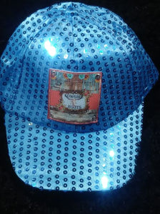 YOUTH/KIDS SIZE TURQUOISE SEQUINS NAD TRUCKER HATS WITH OUR CUSTOM LOGO LEATHER PATCH