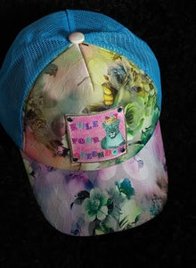 TURQUOISE ROSES HAT BOHEMIAN RHAPSODY LEATHER PATCH HAND SET WITH SWAROVSKI CRYSTALS