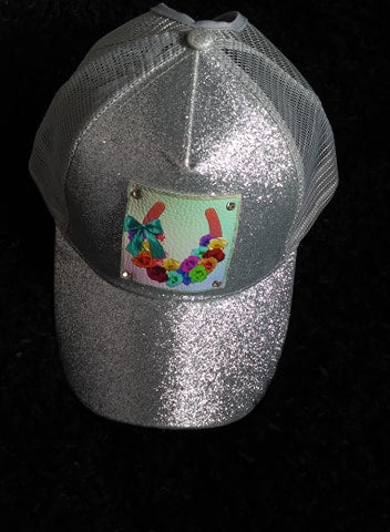 SILVER GLITTER HAT LUCKY ROSES LEATHER PATCH HAND SET WITH CRYSTALS