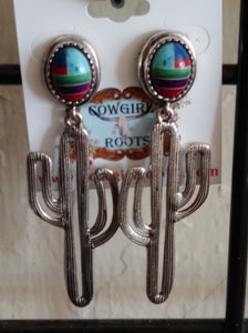 CACTUS IN SILVER TONE DANGLE FROM TRIBAL STONE POST