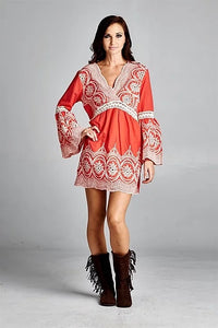 CORAL LACE TAT TUNIC/DRESS BY VELZERA