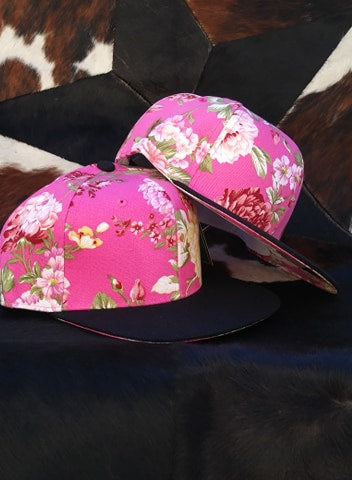 BEAUTIFUL BOLD FLOWER SNAP BACK HATS CAP IN PINK
