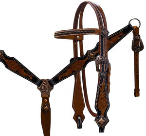 TWO TONE WESTERN VINTAGE TOOLED BRIDLE SET