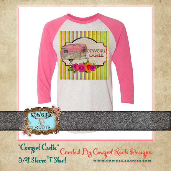 COWGIRL CASTLE 3/4 SLEEVE T SHIRT