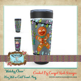 """HOLIDAY CHEER"" 20oz HOT OR COLD STAONLESS STEEL TRAVEL TUMBLER MUGS"