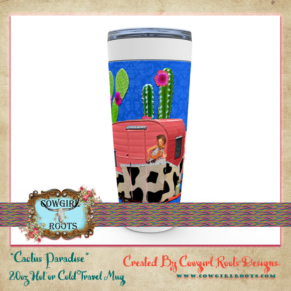 20oz CACTUS PARADISE HOT OR COLD STAINLESS STEEL TRAVEL TUMBLER