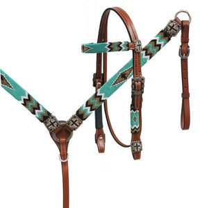 BEADED CROSS BRIDLE SET IN TURQUOISE/BLACK/GOLD