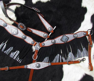 SILVER GLITTER SUPER BLING 4PC BRIDLE SET