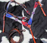 """PONY SIZE"" PATRIOTIC RED SILVER AND BLUE GLITTER PONY BRIDLE SET"