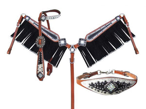 BLACK AND WHITE STING RAY BLING SET WITH WITHER STRAP