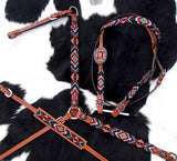 AZTEC BEADED BRIDLE SET IN TURQUOISE, ORANGE, RED AND GOLD ~ WITH WITHER STRAP