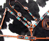 RED AND TURQUOISE BEADED ARROW,  ARROW CONCHOS BRIDLE SET WITH WITHER STRAP