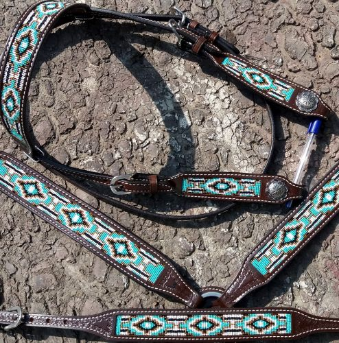 4 PIECE TURQUOISE CHOCOLATE AND GOLD TRIBAL BEADED BRIDLE SET DARK LEATHER