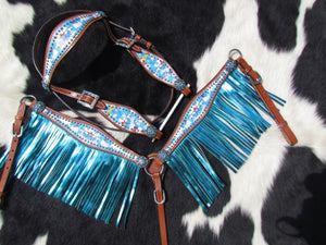 """PONY SIZE"" UNICORN AND RAINBOWS TURQUOISE METALLIC FRINGE BRIDLE SET"