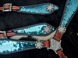 TURQUOISE TO SILVER REVERING SEQUINS FRINGE BRIDLE SET