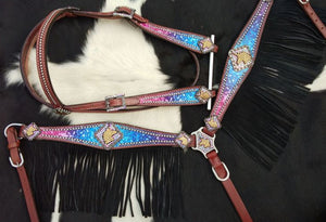 GALAXY PRINT UNICORN FRINGE BRIDLE SET