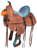 "12"" TURQUOISE SUEDED SEAT AND BUCK-STITCH ROUGHT BARREL STYLE SADDLE!"