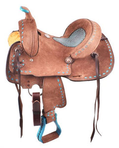 "12"" OR 13"" ROUGHOUT BARREL SADDLE WITH TURQUOISE ALLIGATOR SEAT"