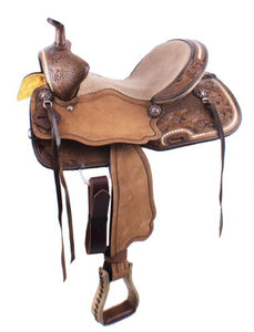 "15"" FLORAL TOOLED ROUGH OUT BARREL RACING SADDLE"